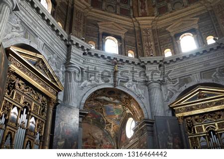 Milan, Italy - January 16, 2019 : Interior of Santa Maria della Passione church #1316464442