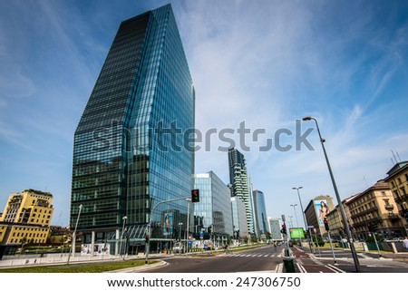 MILAN ITALY JANUARY 25 2015 new Porta Nuova district Diamond tower Milan Italy january 25 2015