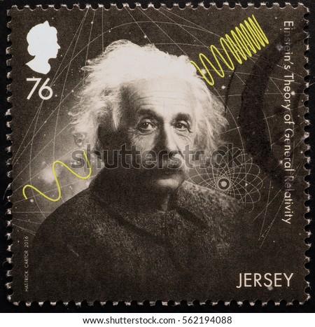 Milan, Italy - January 13, 2017: Scientist Albert Einstein on postage stamp of Jersey
