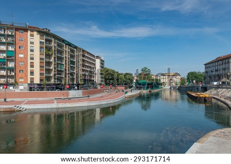 MILAN ITALY JUNE 26 2015 The Darsena a fleet of Milan after restructuring at Expo 2015