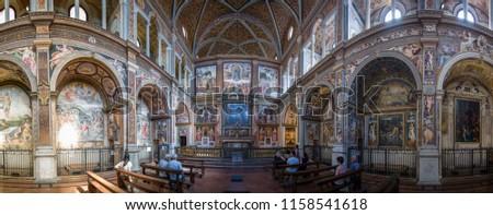 Milan, Italy - June 28 2017: The interior painting in Church of San Maurizio al Monastero Maggiore. #1158541618