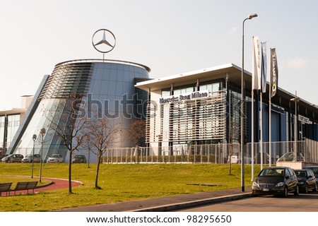 Milan ,Italy - MAR 23: Mercedes-Benz headquarter in Milan on March 23, 2012. As part of the Daimler AG company, the Mercedes-Benz Cars division includes Mercedes-Benz, Smart and Maybach car production