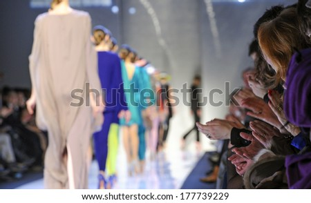MILAN ITALY-MARCH 01 2010 Models on runway catwalk during the spring-summer fashion collection of Mila Schon