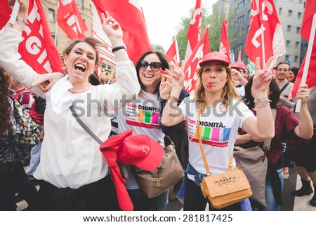 MILAN, ITALY - MAY 05: Students manifestation held in Milan on May, 5 2015. Students and teachers took to the streets to protest against new laws on education by minister Stefania Giannini #281817425