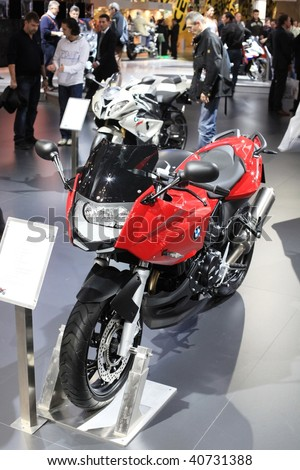 MILAN, ITALY - NOV. 11: Close-up of BMW motorcycle at EICMA, 67th International Motorcycle Exhibition November 11, 2009 in Milan, Italy.