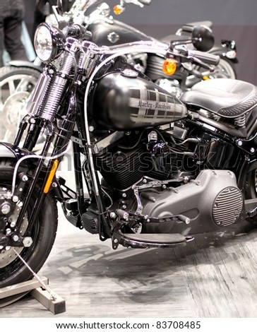 MILAN, ITALY - NOV. 11: Close-up of Harley Davidson motorcycle at EICMA, 67th International Motorcycle Exhibition on November 11, 2009 in Milan, Italy.