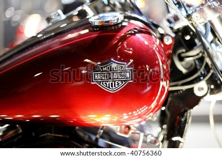 MILAN, ITALY - NOV. 11: Close-up of Harley Davidson motorcycle brand at EICMA, 67th International Motorcycle Exhibition November 11, 2009 in Milan, Italy.