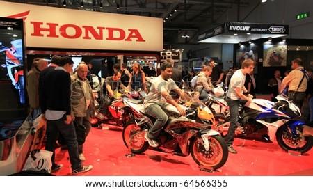 MILAN, ITALY - NOV. 03: Close-up on Honda motorcycle area at EICMA, 68th International Motorcycle Exhibition November 03, 2010 in Milan, Italy.