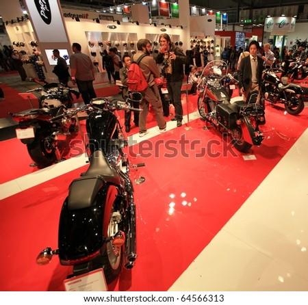 MILAN, ITALY - NOV. 03: Close-up on Honda motorcycles in exhibition at EICMA, 68th International Motorcycle Exhibition November 03, 2010 in Milan, Italy.