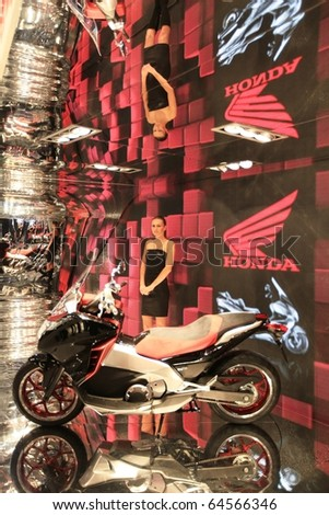 MILAN, ITALY - NOV. 03: Close-up on motorcycles Honda area at EICMA, 68th International Motorcycle Exhibition November 03, 2010 in Milan, Italy.