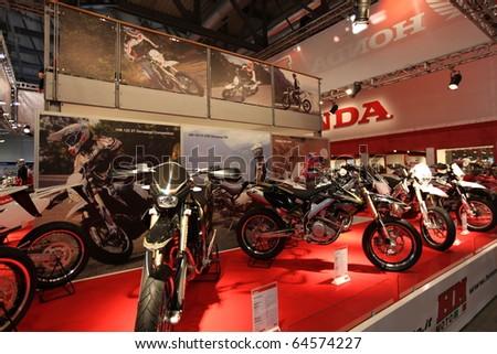 MILAN, ITALY - NOV. 03: Honda motorcycles in exhibition at EICMA, 68th International Motorcycle Exhibition November 03, 2010 in Milan, Italy.