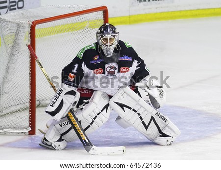 MILAN, ITALY - NOV 02: Rene Baur of HC Merano during a game at Agora  Arena on November 2, 2010, in Milan