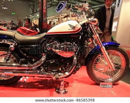 MILAN, ITALY - NOV. 03: Special Honda motorcycle in exhibition at EICMA, 68th International Motorcycle Exhibition November 03, 2010 in Milan, Italy.