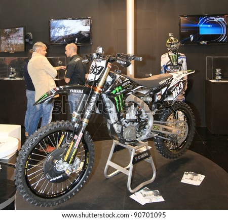 MILAN, ITALY - NOV. 11: Yamaha cross motorcycle presentation during EICMA, 69th International Motorcycle Exhibition on November 11, 2011 in Milan, Italy.
