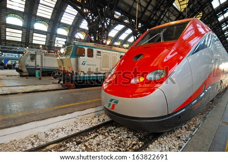 Milan, Italy - November 26: New High Speed Train Freccia Rossa Connecting Milan Central Station To Bologna Central Station, November 26, 2007 In Milan, Italy.