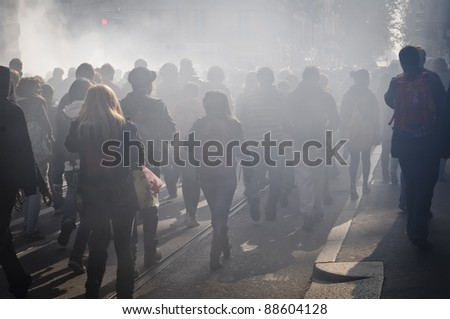 MILAN, ITALY - NOVEMBER 11: protest against economic crisis in Milan november 11, 2011. Students manifests in the streets against the economic crisis and against the govern. #88604128