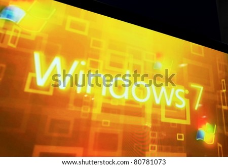 MILAN, ITALY - OCT. 20: Close up of Windows 7 stand at SMAU, international fair of business intelligence and information technology October 20, 2010 in Milan, Italy.
