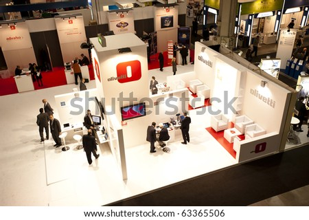 MILAN, ITALY - OCT. 20: Olivetti stand during SMAU, International Exhibition of Information and Communication Technology on October 20, 2010 in Milan, Italy.