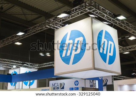 MILAN, ITALY - OCTOBER 16: Detail of HP stand at Viscom, international trade fair and conference on visual communication and event services on OCTOBER 16, 2015 in Milan.