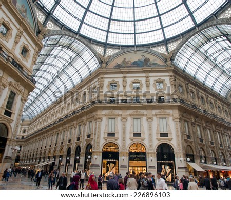 MILAN, ITALY - OCTOBER 08, 2014 : Luxury shop in Galleria Vittorio Emanuele at Milan, Italy on October 08, 2014.