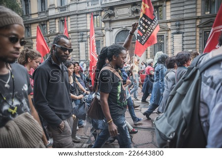 MILAN, ITALY - OCTOBER 18: manifestation held in Milan october 18, 2014. People took streets to protest against racism, war and against lega nord, right wing politic italian movement #226643800