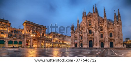 Milan, Italy: Piazza del Duomo, Cathedral Square in beautiful colors of sunrise. Representative picture of astonishing square in city, center of social and cultural life. Galleria Vittorio Emanuele.