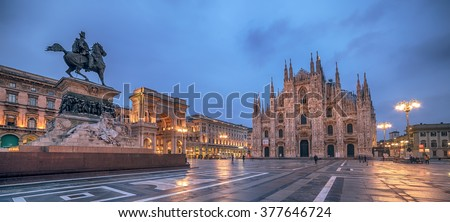 Milan, Italy: Piazza del Duomo, Cathedral Square in the sunrise. Monument to King Victor Emmanuel II. Galleria Vittorio Emanuele. Representative objects of famous Italian city.