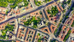 Milan, Italy. Roofs of the city aerial view. Cloudy weather, Aerial View, HEAD OVER SHOT
