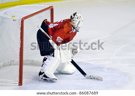 MILAN, ITALY - SEPT 30: Goalie Thomas Commisso  of HC Perzen  during a game at Agora Arena on September 30, 2011 against Hc Milano. Hc Milano won 5-0.