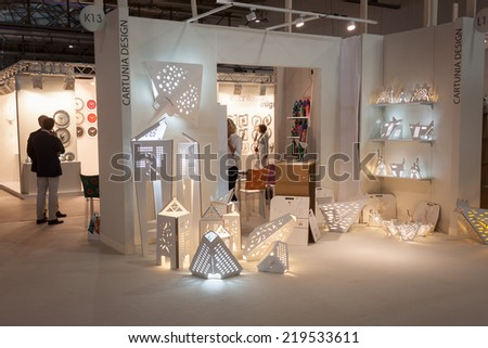MILAN ITALY SEPTEMBER 13 Cartuna design stand at HOMI home international show and point of reference for all those in the sector of interior design on SEPTEMBER 13 2014 in Milan