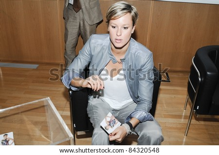 MILAN, ITALY - SEPTEMBER 07: Interview to Federica Pellegrini held in Milan September, 07 2011. The national swimming champion Federica Pellegrini is interviewed in the headquarters Corriere Della Sera