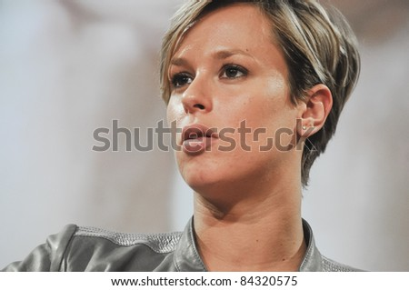 MILAN, ITALY - SEPTEMBER 07: Interview to Federica Pellegrini held in Milan September, 07 2011. The national swimming champion Federica Pellegrini is interviewed in the headquarters Corriere Della Sera - stock photo