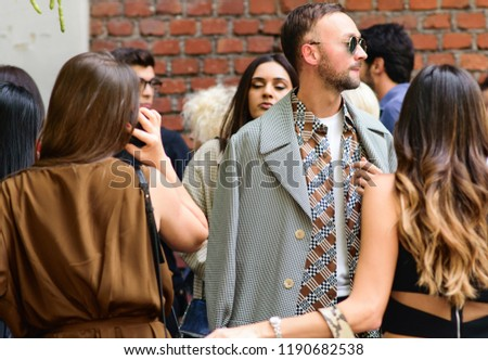 Milan, Italy - September 21, 2018: Street style outfits during Milan Fashion Week - - MFWSS19 #1190682538