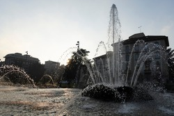 Milan, Lombardy, Italy: fountain of the Four Seasons at Citylife.