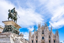 Milan, Lombardy, Italy: Skyline of the duomo, cathedral of Milan and the statue of King Victor Emmanuel II of Italy in Piazza del Duomo
