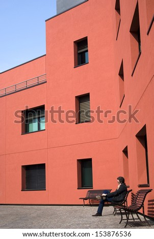 MILAN - MARCH 23: Exterior of a office building in Milan office park on March 23, 2012.