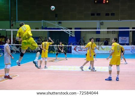 MILAN - MARCH 5:  Janusek ( Chebanca Milan)   jumping set ball    in game Volley Milano vs Volley Reggio Emilia A2 Italian League on March 5,  2011 in Milan