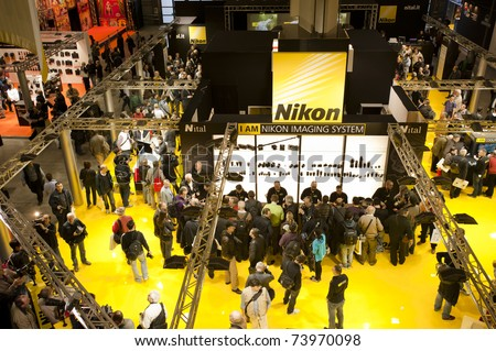 MILAN - MARCH 25: Nikon stand at Photoshow 2011 in Milan Fair on March 25, 2011 in Milan, Italy. This year Photoshow hosts about 300 exhibitors of all the most important firms of the photography business
