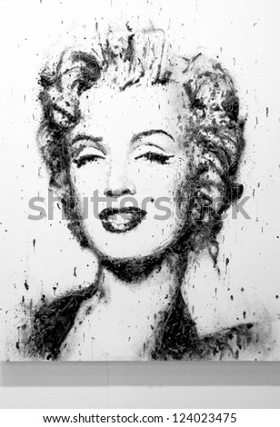 MILAN - MARCH 27: Painting representing Marylin Monroe, black and white version, in exhibition at MiArt ArtNow, international exhibition of modern and contemporary art March 27, 2010 in Milan, Italy.