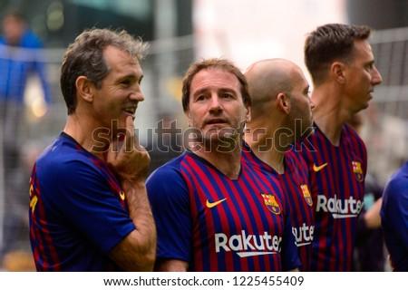 Milan - Nov 6, 2018: Barcelona legendary players. Friendly match Inter Forever - Barca Legends #1225455409