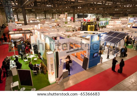 MILAN -  NOV 17-19:  Top view of ENERSOLAR+ , GREENENERGY Expo 2010, International fair on solar and green energy, in Milan Fair, Nov 17-19, 2010.