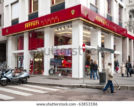 MILAN - OCT 26: Ferrari Store in Milan, Italy, October 26, 2010. In the first 9 months of 2010, revenues of Ferrari have been 1.349 million (+4,8%) (Source ANSA)