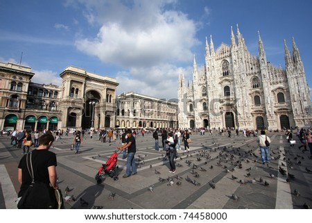 MILAN - OCTOBER 7: Tourists at Piazza Duomo on October 7, 2010 in Milan, Italy. As of 2006, Milan was the 42nd most visited city worldwide, with 1.9 million annual international visitors.