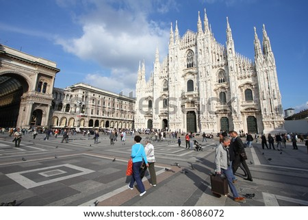 MILAN - OCTOBER 6: Tourists at Piazza Duomo on October 6, 2010 in Milan, Italy. As of 2006, Milan was the 42nd most visited city worldwide, with 1.9 million annual international visitors.