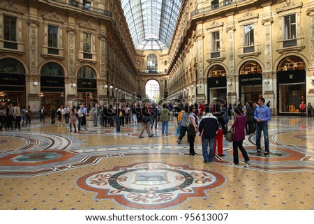 MILAN - OCTOBER 7: Vittorio Emmanuele II shopping gallery on October 7, 2010 in Milan, Italy. Inaugurated in 1865, the gallery claims to be the oldest shopping center worldwide.