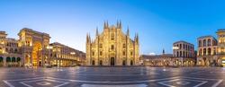 Milan panorama city skyline sunrise at Milano Duomo Cathedral, Milan Italy