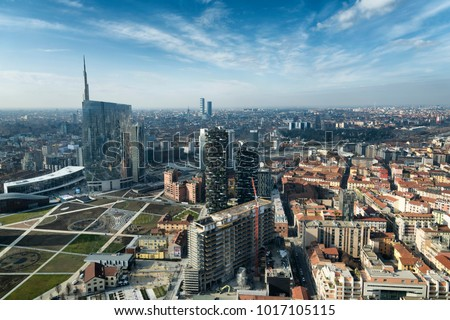 Milan skyline and view of Porta Nuova business district in Italy