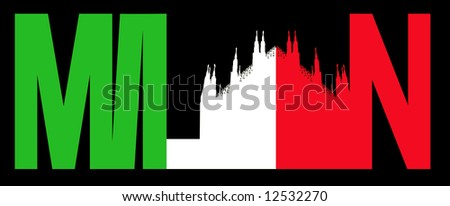 Milan text with Duomo and Italian flag illustration JPG
