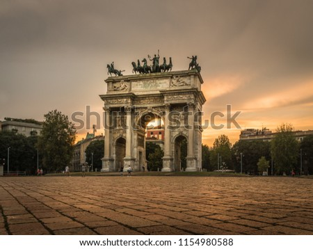 milano city center arco della pace at sunset monument #1154980588