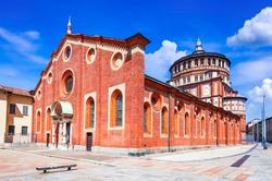Milano, Italy. Church Santa Maria delle Grazie  in Milan, famous for hosting Leonardo da Vinci masterpiece